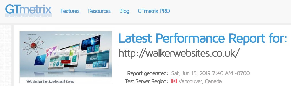 GTmetrix website speed test tool
